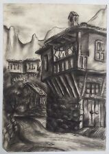 Painting From Europe: Detailed Balkan Traditional Country House Crayon Or Pencil