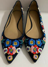 Tori Burch Rosemont Navy Suede Floral Embroidered Ballet  Flats Size 8 M