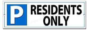 """PARKING RESIDENTS ONLY METAL SIGN.INSRUCTIONAL RESIDENTS PARKING SIGN 12""""X4"""""""