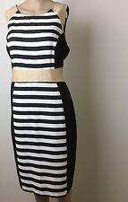 Target Shift Dress Size 18 Black White Stripe Gold Sleeveless Wiggle Work NWT