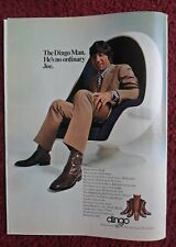 1971 Print Ad DINGO Western Cowboy Boots ~ Football Joe Namath Egg-Shaped Chair