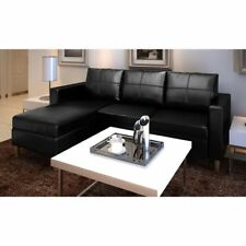 vidaXL Sectional Sofa 3-Seater Artificial Leather Couch Seating Black/White
