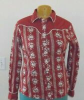 Womens Wrangler Red White Rose Stripe Western Shirt Square Pearl Snap Cowgirl M