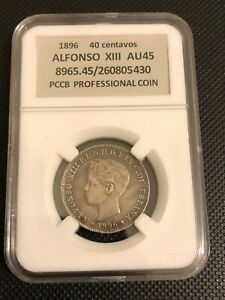 Coin 40 centavos 1896 year Alfonso Xlll Puerto Rico
