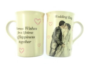 WEDDING DAY TWIN MUG SET ''WARMEST WISHES FOR A LIFETIME OF HAPPINESS TOGETH ''