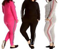Plus Size Ladies Women's Stripe Tracksuit Lounge Suit Top Bottoms Leopard Prints