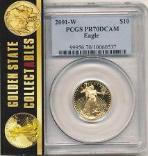 2001 W $10 1/4 OZ. PROOF GOLD EAGLE PCGS PR70  DCAM , PERFECT, BLUE HOLDER.