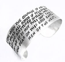 Aragorn's Speech Bracelet - Wide Hand Stamped Lord of the Rings Cuff, Adjustable