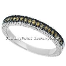Chocolate-Brown Diamond Wedding Ring Band 14k White Gold Vintage Antique Style