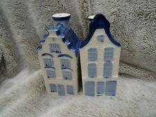 DELFT BLUE  HOUSES SALT & PEPPER SHAKERS (4)