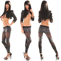 Sexy Women Clubbing Black Wet Look Pant Ladies Leggings Size 6 8 10 12 Trouser S