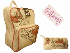 Billabong Cream Butterfly Womens Girls Backpack Rucksack School Bag + FREE Bag