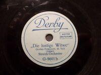 """STREICH-ORCHESTER """"Die lustige Witwe- Großes Potpourri - Lehár"""" 78rpm Derby 1929"""
