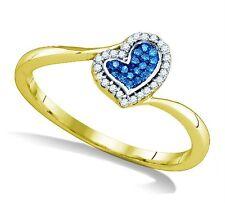 Blue & White Diamond Ring 10K Yellow Gold Diamond Heart Bypass Ring .09ct