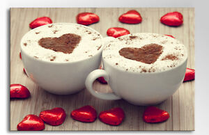 LARGE VIBRANT CANVAS WALL ART RED LOVE HEARTS CHOCOLATES COFFEE CUPS ZEN PICTURE