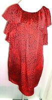 BUTTERFLY BY MATTHEW WILLIAMSON UK 14 RED ANIMAL PRINT RUFFLE SHOULDER DRESS -