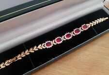 Yellow gold finish red ruby & created diamond princess tennis bracelet