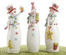 Set of 3 Whimsical Candy Snowmen Ornament Figurines