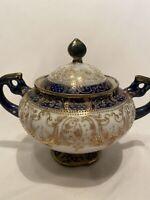 Antique Nippon Hand Painted Sugar Bowl Lid Cobalt Blue Gold Moriage Maple Leaf