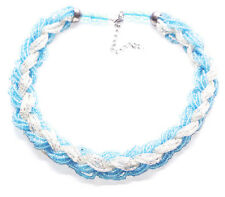Magnificent Blue & Translucent White Beads/Braided Choker Necklace(Zx304)