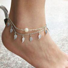Pearl Anklet Summer Ankle Bracelet Silver Plated Adjustable Leaf Chain Imitation