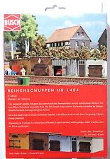 H0 BUSCH 4 Reihenschuppen Garage Schuppen Lagerschuppen Tore Echtholz # 1454