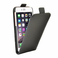 GENUINE LEATHER SLIM BLACK Flip Case Cover For Mobile Phone Apple iPhone 8 Plus