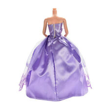 1 Pcs Wedding Dress Princess Gown for Barbies Purple Clothes for Kids Doll HF