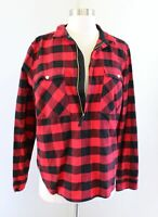 J Crew Red Black Buffalo Check Plaid Popover Shirt Jacket Size M Zipper Neckline