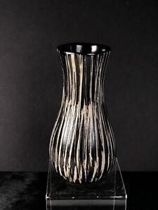 "Vintage Black & Tan Carved Veins 6"" Bud Vase Pigeon Forge Pottery"