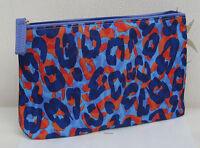 Estee Lauder Blue Purple & Red Print Patterned Silky Lined Make Up Bag New