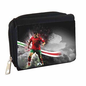 Ronaldo Football Personalised Black Denim Wallet
