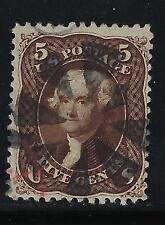 1861-66 U.S. Scott 76a 5c blk brn Jefferson segmented cork & red transit cxls