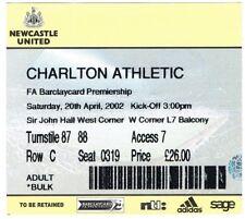 Ticket - Newcastle United v Charlton Athletic 20.04.02
