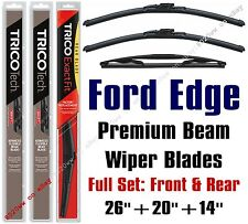 2007-2014 Ford Edge Wipers 3pk Premium Beam Blades Front + Rear 19260/19200/14D