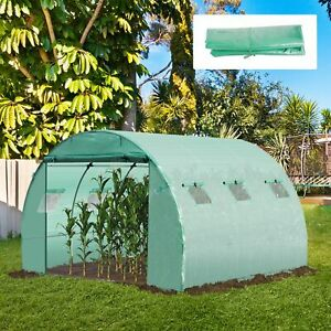 Greenhouse Replacement Cover Walk-in Protect Plastic Tunnel Roll-up Door Windows