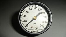 "ASHCROFT AIR PRESSURE GAGE GAUGE DIAL INDICATOR 0-200 PSI  1/8"" NPT NEW"