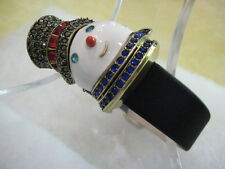 "HEIDI DAUS ""Sparkling Snowman"" Covered Dial Leather Watch(Orig.$99.95)-LAST ONE!"