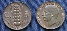 REGNO D'ITALIA RE VITTORIO EMANUELE III° CASA SAVOIA 5 CENTESIMI 1921 - SPIGA