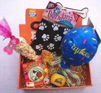 DOG GIFT BOX WITH DOG BANDANA BIRTHDAY BALLOON TOY POPCORN & DOG BIRTHDAY CAKE