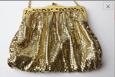 Vintage 1940's Whiting & Davis Gold Metal Mesh Purse w/ Filigree Frame