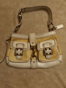 Authentic Coach White Leather Straw Shoulderbag Legacy Purse Satchel 105
