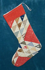 PRIMITIVE ANTIQUE VINTAGE CUTTER QUILT CHRISTMAS STOCKINGS! BLUE RED 16-31
