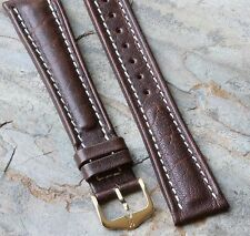 Long Hirsch 20mm vintage watch strap brown padded leather contrasting stitching
