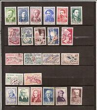 N°388-lot 23 timbres4séries-complètes années 53-54-58-neufs et oblitérés-b.cotes