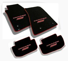 NEW! Ebony floor mats 2010-2015 Camaro Embroidered Logo SS in Red w/ binding All
