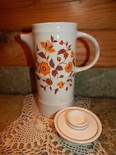 Coffee Pot Brendan Erin Stone Arklow Ireland Cream Color Orange Brown Floral EUC