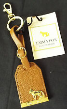 Emma Fox Leatherware Leather Key Fob Keyring Whiskey Brown New with Tag