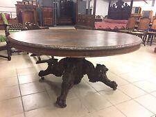 Grande table guéridon de salle à manger style Henri II en chêne
