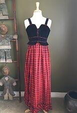 Candi Jones Vintage Dress Sz XS Small Red Black Plaid Long Velvet Hippie Gypsy